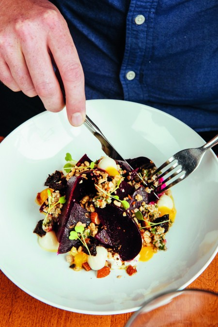 Roasted beets with apple, ginger, quinoa, crisp parsnip and smoked yogurt at Enoteca in Winnipeg. Photo courtesy of Air Canada enRoute magazine.